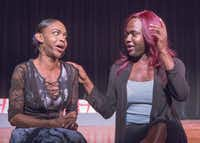 "Mieko Hicks (left) and Shannon Walker talk about being transgender. They will perform in ""In the Tall Grass,"" a world premiere docudrama by Paul Kalburgi, at the Bishop Arts Theatre. The play is about the unsolved 2015 murder of a transgender person in Dallas.(Ron Heflin/Special Contributor)"