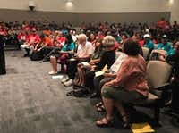 Carrollton residents and immigrant advocates gathered at Carrollton City Hall in July to voice their opposition to the city's 287(g) program.(Elvia Limon/Staff )