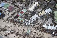 An aerial photograph taken and released by the Dutch department of Defense shows the damage of Hurricane Irma in Philipsburg, on the Dutch Caribbean island of Sint Maarten.(Gerben Van Es/Dutch Defense Ministry/AFP/Getty Images)