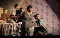 (From left) Dylan Godwin, Leah Karpel, Liz Mikel and Alex Organ play the Miller children and their maid, Doris, in the world premiere of Boo Killebrew's<i>Miller, Mississippi</i>, a Dallas Theater Center production at the Wyly Theatre's Studio Theatre.(Special Contributor/Jason Janik)