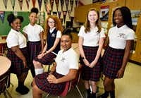 From left: Middle school students Hannah Wesley, Etana King, Marisol Braun, Angelina Brierre, Francesca Gilbard and Racheal Olaleye from Irma Rangel Young Women's Leadership School gave advice to the new Dallas Police Department chief.(Ben Torres/Special Contributor)