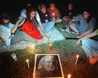 In August 1995, Deadheads gathered in Lee Park for a candlelight  vigil to mark the death of Jerry Garcia.(Karen Stallwood/Staff Photographer)