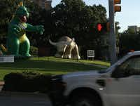 Inflatable characters officially launched TxDOT's D-FW area Click It or Ticket campaign at Lee Park on May 18, 2009. They were part of a three-week PR campaign journey across Texas designed to remind motorists to obey the law by buckling their safety belts.(Nathan Hunsinger/Staff Photographer)