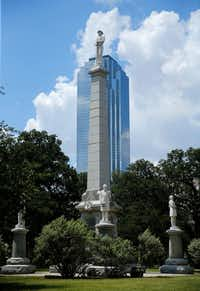 """The Confederate War Memorial at Pioneer Park Cemetery in downtown Dallas, At the monument's base are four more statues, of Confederate President Jefferson Davis, Gen. Robert E. Lee, Gen. Thomas """"Stonewall"""" Jackson, and Gen. Albert Sidney Johnston.(Tom Fox/Staff Photographer)"""