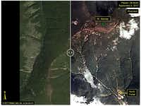 These before-and-after images, courtesy of Planet, show the Punggye-ri test site where, on Sept. 3,  North Korea claimed to have conducted the underground explosion of a hydrogen bomb. The image on the left is a pre-test image acquired on Sept. 1, while the post-test image, showing a landslide, was acquired on Sept. 4. (Courtesy Planet/Agence France-Presse)