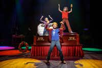 From left: Carly Gold as  Small Alison,  Luk  Barbato Smith as  Christian  and Henry Boshart as  John perform in <i>Fun Home</i>.  (Joan Marcus)