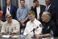 Sen. Ted Cruz (left) and chief of the Texas Emergency Management Division, Nim Kidd, listen to Gov. Greg Abbott during a meeting in Victoria. Abbott introduced local officials to a commission he has created to help rebuild Texas communities ravaged by Hurricane Harvey.(Irwin Thompson/Staff Photographer)