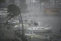 Boats ride out Hurricane Irma in a marina on September 10, 2017 in Miami, Florida. Hurricane Irma made landfall in the Florida Keys as a Category 4 storm on Sunday, lashing the state with 130 mph winds as it moves up the coast.(Joe Raedle/Getty Images)