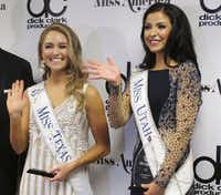 Miss Texas Margana Wood (left) and Miss Utah JessiKate Riley met with the media after the first night of preliminary competition in the Miss America pageant last week.(Wayne Parry/The Associated Press)