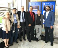 Marni Weiss (left) poses with (from left to right) her husband Jeffrey Weiss, Dr. Henry Friedman, Dr. Al Musella, Dr. Marty Tenenbaum, and Dr. Adam Resnick, who were presenting a proposal on brain tumor treatments for glioblastoma to the FDA on June 29, 2017.