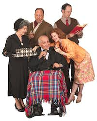 From left: Allyn Carrell, Brian Hoffman, Jackie L Kemp, Mary-Margaret Pyeatt and Michael Speck star in the American premiere of Paul Baker's <i> Winston's Birthday</i>,  presented by Theatre Britain at Cox Playhouse in Plano.(Michael C Foster)