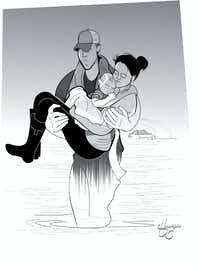 <p>Hollywood illustrator Matt Hirschfeld created this image of a photo taken of Cathy Pham and son Aidan being rescued by Houston SWAT Officer Daryl Hudeck.</p>(Matt Hirschfeld)