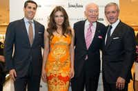 DALLAS, TX - JUNE 18:  Jim Gold, Elizabeth Hurley, Leonard Lauder and Malcolm Reuben pose for a photograph during the Estee Lauder shop and compact museum opening at Neiman Marcus NorthPark on June 18, 2014 in Dallas, Texas.  (Photo by Cooper Neill/Getty Images for Estee Lauder) ORG XMIT: 498200857(Cooper Neill/Getty Images for Estee Lauder)