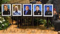 Photos of five officers who died were displayed during during an interfaith memorial service at the Morton H. Meyerson Symphony Center in Dallas on Tuesday, July 12, 2016, for five law enforcement officers killed last week in an ambush at a Black Lives Matter rally. The victims are depicted (from left) Dallas PD officer Michael Krol, DART officer Brent Thompson, Dallas PD officer Lorne Ahrens, Dallas PD officer Michael Smith, and Dallas PD officer Patrick Zamarripa. (Smiley N. Pool/Staff Photographer)