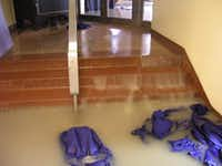 Flooding earlier this year in the Hall of State building at Fair Park.(Dallas Historical Society)