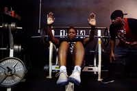 Lisa Terrell does a Power Cardio Workout with Bertram Lawrence Sr. at the Dungeon, his gym in Panteo, Texas.(Lawrence Jenkins/Special Contributor)