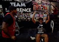 When a workout lasts just five minutes, you can bet it's intense. Lisa Terrell puts her heart and soul into this one, led by Bertram Lawrence Sr. at his gym, the Dungeon.(Lawrence Jenkins/Special Contributor)