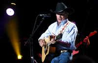 In this handout photo provided by Hand in Hand, George Strait performs onstage during George Strait's Hand in Hand Texas benefit concert; Strait and special guests Miranda Lambert, Chris Stapleton, Lyle Lovett and Robert Early Keen perform in concert at the Majestic Theatre on September 12, 2017 in San Antonio, Texas.(Rick Diamond/Hand in Hand/Getty Images)
