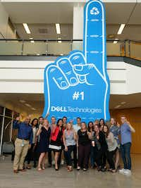Dell employees with the world's largest foam finger(Dell Technologies)