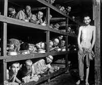 In this April 16, 1945  photo, inmates of the German KZ Buchenwald are seen inside their barracks a few days after U.S troops liberated the concentration camp near Weimar, Germany.  (The Associated Press)
