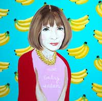 """""""Not Today Satan"""" a new Anna Wintour painting by New Orleans' based pop artist Ashley Longshore is $11,550 at Forty Five Ten. The painting is acrylic and mixed media on canvas covered in heavy resin(Forty Five Ten)"""