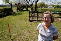 Leslie Luscombe on her property in Anna.(Vernon Bryant/Staff Photographer)
