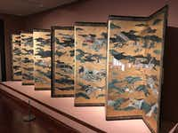 "A screen that is part of the Crow Collection of Asian Art's new exhibit, ""Styled with Poise: Figures in Japanese Paintings and Prints."" (Staff/Deborah Fleck)"