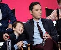 Iain Armitage, left, a cast member in the CBS series <i>Young Sheldon</i>, and executive producer-narrator Jim Parsons take part in a panel discussion during the 2017 Television Critics Association Summer Press Tour on Tuesday, August 1, 2017, in Beverly Hills, Calif.(Chris Pizzello/Invision/AP)
