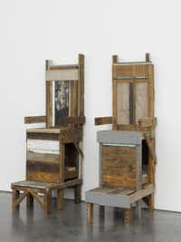 <i>Shoe Shine Stands</i>, a piece of sculpture created by Nasher Prize winner Theaster Gates.(Nasher Sculpture Center)