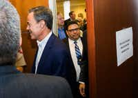 Texas Speaker of the House Joe Straus exited a Republican caucus on Aug. 16, 2017, at the Capitol in Austin.(Ashley Landis/Staff Photographer)