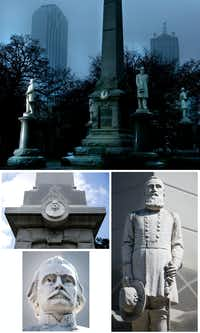 "The Dallas ISD board of trustees is considering renaming four schools named after Confederate generals, who are all depicted on the Confederate War Memorial in downtown Dallas. They are Robert E. Lee (top photo, far left), and (clockwise from right) Thomas ""Stonewall"" Jackson, Albert Sidney Johnston, and William L. Cabell.(The Dallas Morning News/Staff photos)"