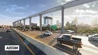 This rendering shows how the hyperloop could run parallel to Texas highways.(AECOM)