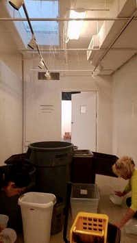 The art gallery in the Bath House Cultural Center is often crowded with receptacles to catch water from the leaky roof.(Friends of the Bath House Cultural Center/<p><br></p>)