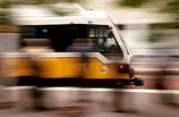 A DART train pulls into the Akard Street station in downtown Dallas. (Tom Fox/File Photo)