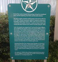 The history of the property, now home to Garland's Central Park, is told in detail on a marker outside Granger Recreation Center.(Ray Leszcynski/Staff)