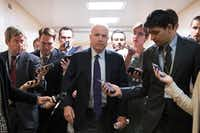 Sen. John McCain, R-Ariz., talks to reporters on Capitol Hill, in Washington, D.C. Just when the effort to repeal the Affordable Care Act appeared to be dead, a last-ditch push to obliterate the law could be nearing a showdown vote in the Senate, and a handful of Republicans insist they are closing in on the votes. (Tom Brenner/The New York Times)