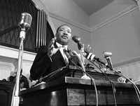 In this 1960 file photo, the Rev. Martin Luther King Jr. speaks in Atlanta.(The Associated Press)