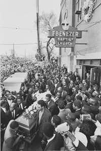 Pall bearers, including Jesse Jackson (second from bottom left), carry the coffin of the Rev. Martin Luther King Jr. at Ebenezer Baptist Church on April 9, 1968.(Don Hogan Charles/The New York Times)