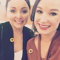 Christine Chambers (left) and Hayley McDaniel took a selfie at the Collin County Courthouse this week. Both wore sunflower pins in honor of Jessie Bardwell, who was murdered by her boyfriend, Jason Lowe. Chambers and McDaniel dated Lowe before he dated Bardwell. (Courtesy)