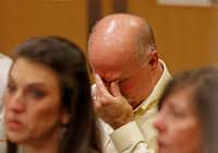 Gary Bardwell, father of Jessie Bardwell, is overcome with emotion during the prosecution's closing statements during Jason Lowe's murder trial at the Collin County Courthouse in McKinney on Sept. 19, 2017. (Jae S. Lee/Staff Photographer)
