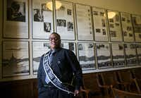 Trenton Johnson, in the Civil Rights Room at the state Capitol this summer.(Ashley Landis/Staff Photographer)