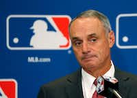 Commissioner Rob Manfred is scheduled to be in town Thursday when the Rangers break ground on their new ballpark.(Charles Rex Arbogast/The Associated Press)