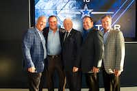 From left: Cowboys executive vice president Stephen Jones, real estate broker Rex Glendenning, Cowboys owner Jerry Jones, real estate broker Matthew Kiran and Joe Hickman, head of Blue Star Land, worked with the city of Frisco and Frisco ISD on The Star.