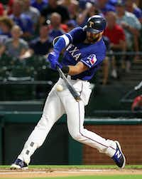 Joey Gallo and the Rangers battled the rival Houston Astros in a three-game series this week.(Richard W. Rodriguez/The Associated Press)