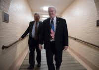 "<p><span style=""font-size: 1em; background-color: transparent;"">Rep. Michael Burgess (left), R-Texas, and Rep. Joe Barton, R-Texas, walked to a meeting with fellow House Republicans earlier this month as work in Congress resumed after the August recess.</span></p>(J. Scott Applewhite/The Associated Press)"