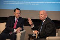 AT&T CEO Randall Stephenson (left) has pushed lawmakers including Texas Rep. Kevin Brady to reduce the corporate tax rate.(AT&T)