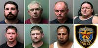<p>Left to right, top to bottom: Jarrod Cook, Douglas Hammonds, Gary Gibson, Donny Stringer, James Marshall, Zachary Blakley and Geronimo Farias</p>(Fort Worth police)