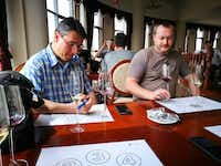 Tourists from the Czech Republic compare Chinese wines on their wine tour from Easy Tour China.(Kathy Chin Leong/EasyTourChina.com)