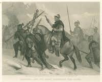 An 1870 image by Alonzo Chappel imagines Hannibal and his army crossing the Alps.(New York Public Library/Art and Picture Collection)