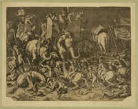 The battle of Zama.  Engraving after painting by Cornelis Cort. Date Created/Published: [between 1600 and 1799]  Print showing Scipio Africanus on horseback with Roman soldiers engaging Hannibal, riding a war elephant, during the battle of Zama.(Library of Congress Prints and Photographs Division)